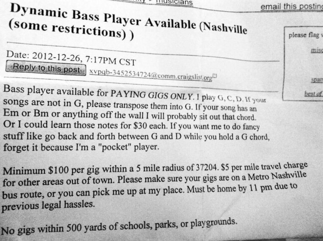 bass player nashiville Epic Adverts: Dynamic Nashville Bass Player Is Looking For Work In G (Some Restrictions Apply)