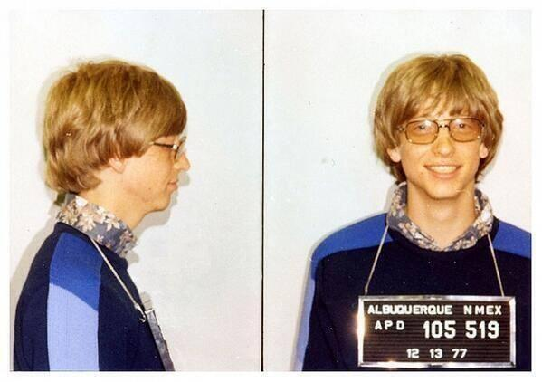 bill gates 1977 Mug Shot: Bill Gates Arrested For Driving Without A License, 1977