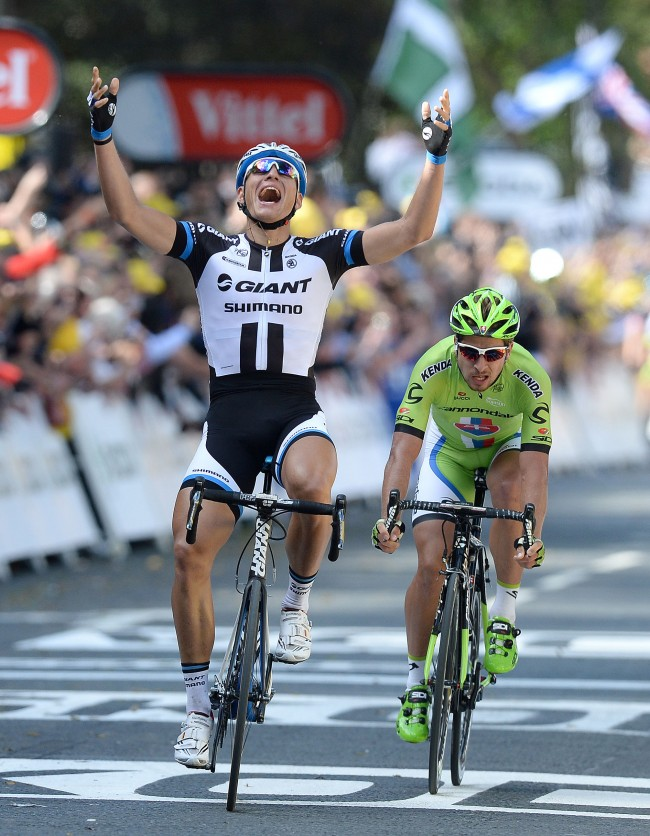 Giant-Shimano's Marcel Kittel (left) wins of stage one of the Tour de France in Harrogate, Yorkshire.