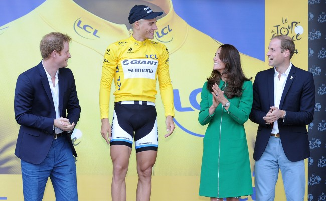 Giant-Shimano Marcel Kittel with his yellow jersey after winning stage one of the Tour de France in Harrogate, Yorkshire.