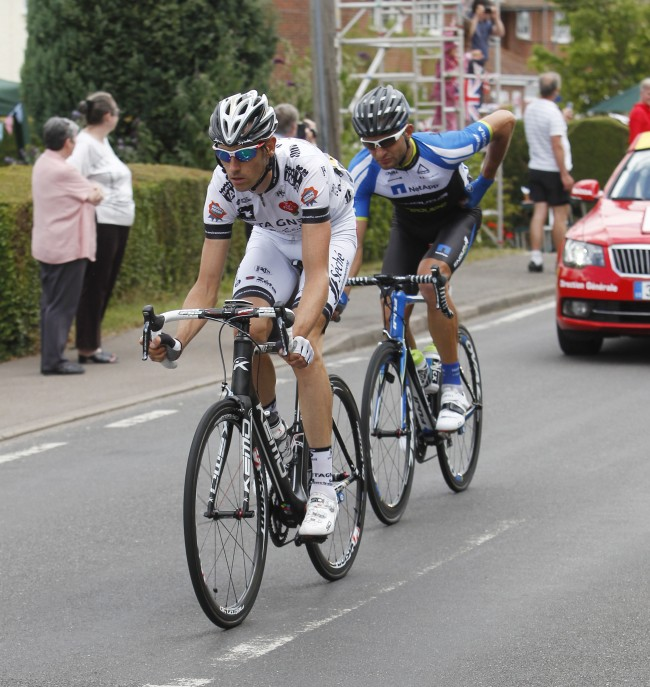 Jean-Marc Bideau leads Jan Barta as the Tour de France passes through Bannister Green near Felsted in Essex on the way from Cambridge to London. Picture date: Monday July 7, 2014. See PA story CYCLING Tour. Photo credit should read: Martin Keene/PA Wire