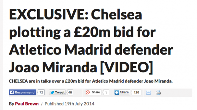 Screen Shot 2014 07 19 at 21.28.54 Transfer Balls: Chelsea Want Miranda But Mourinho Doesnt