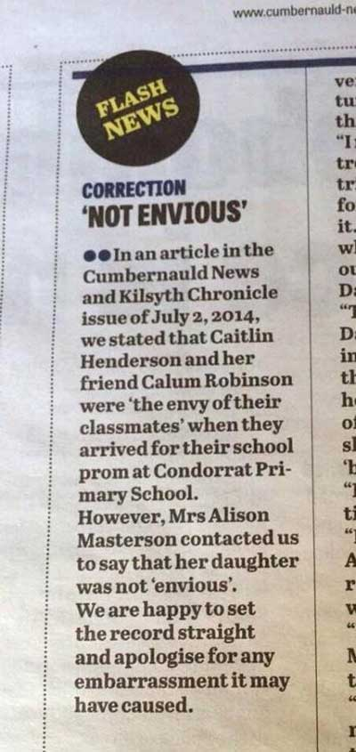 envy Regret The Error: Cumbernauld News And Kilsyth Chronicle Apologises For Envy