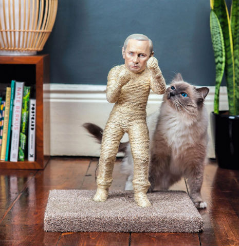 1 Pussycat Riot Rips Into Putin: Dictator Themed Litter Boxes and Scratch Posts