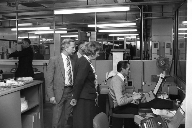 The Prime Minister, Margaret Thatcher visiting the Fleet Street offices of The Press Association, Britain's national news agency. Ref #: PA.10154954  Date: 02/12/1981