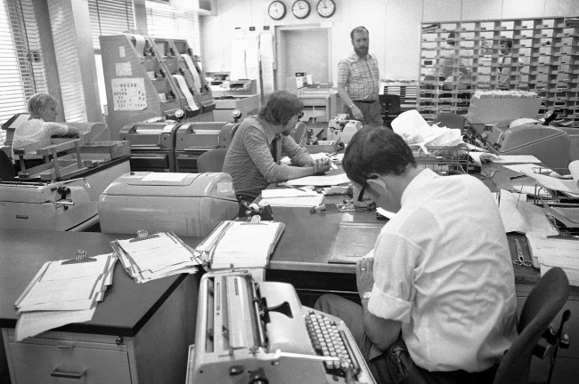 A view into the newsroom of Radio Free Europe, May 18, 1971, where news from all over the world is gathered and edited. (AP Photo) Ref #: PA.11540473  Date: 18/05/1971