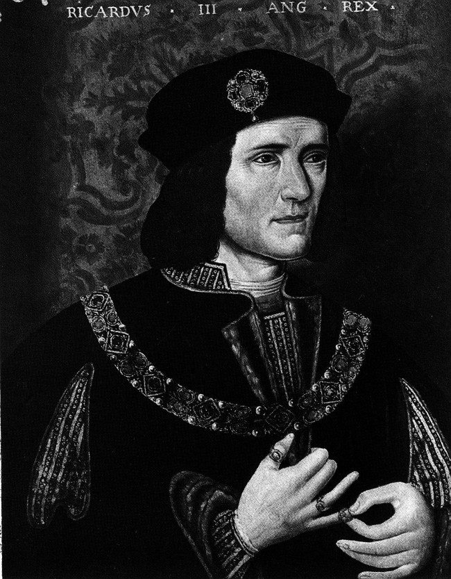 portrait of Richard III (1452-1485), Duke of Gloucester and Yorkist King of England (1483-1485). He was notorious as the suspected murderer of his two nephews in the Tower of London. He proved an able administrator until his brief reign was ended by his death at the Battle of Bosworth.