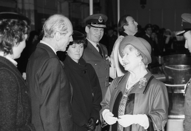 The Queen Mother chats to wing Commander Leonard Cheshire, a former commanding officer of 617 Squadron, the 'Dambusters', during a ceremony at RAF Marham to present the squadron's new Standard. Archive-pa226169-2 Ref #: PA.16482238  Date: 13/01/1988