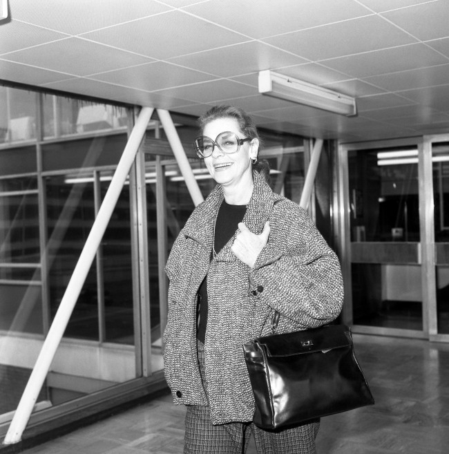 Hollywood actress Lauren Bacall at Heathrow Airport, where she left for New York.   Date: 09/03/1985
