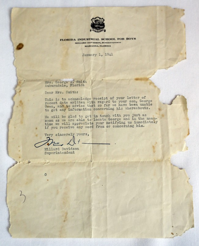 A Jan. 1, 1941 letter from the Florida Industrial School for Boys superintendent Millard Davidson sent to George Owen Smith's mother