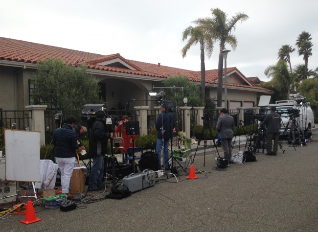 Media outside the home of Robin Williams in the town of Tiburon, California where the actor/comedian was found dead in a suspected suicide at the age of 63.