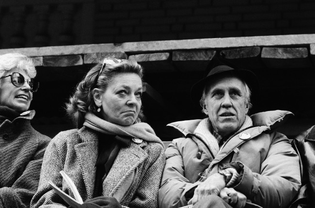 This March 4, 1982 file photo shows a Lauren Bacall and Jason Robards, right, at a rally to save the Morosco and Helen Hayes Theatres in New York. Bacall, the sultry-voiced actress and Humphrey Bogart's partner off and on the screen, died Tuesday, Aug. 12, 2014 in New York. She was 89. (AP Photo/Marty Lederhandler, File)