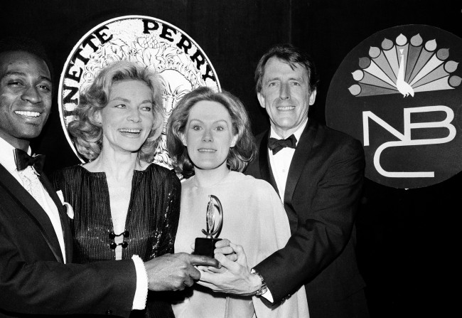 "Tony winners, from left, Cleavon Little, Lauren Bacall, Tammy Grimes and Fritz Weaver pose at the 24th Annual Tony Awards ceremony at the Mark Hellinger Theatre in New York City, April 19, 1970. Little won best actor in a musical for ""Purlie""; Bacall won best actress in a musical for ""Applause""; Grimes won best actress for the revival ""Private Lives""; and Weaver won best actor in a dramatic role for ""Child's Play."" (AP Photo)"