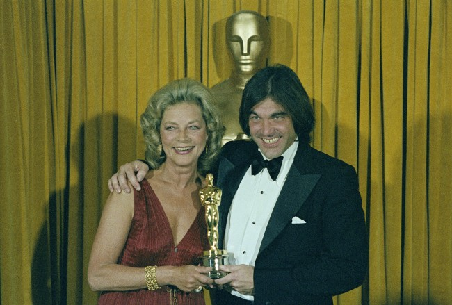 "Actress Lauren Bacall is shown presenting Oscar to director Oliver Stone for ""Midnight Express"" at the 51st Annual Academy Awards in Los Angeles on April 9, 1979. (AP Photo)"