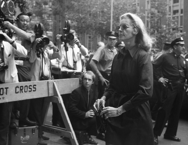 Actress Lauren Bacall is among those attending the funeral services on June 27, 1969 in New York, for entertainer Judy Garland. A private funeral service was held after 21,000 persons had filed past her casket. (AP Photo)