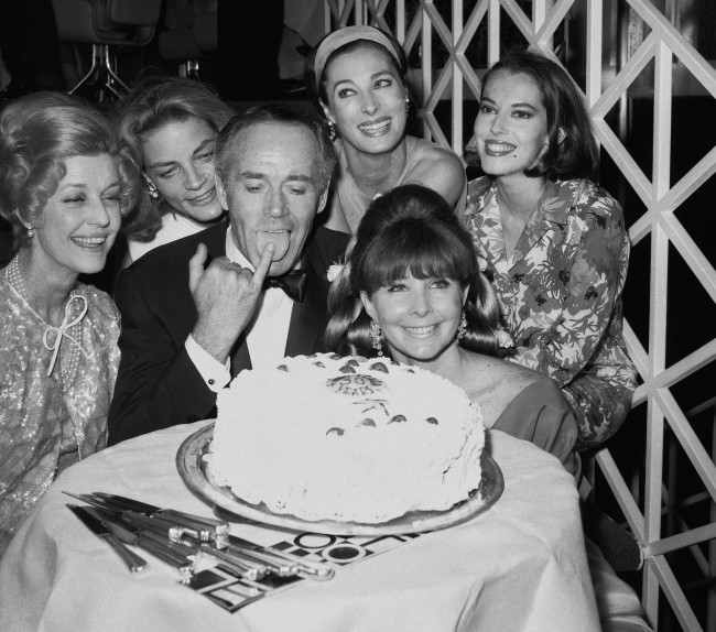 Actor Henry Fonda is pictured with his wife, the former Shirlee Adams, during a celebration of his 30 years of acting. Also in attendance were (left to right) Anita Louise, Lauren Bacall, Rita Gam, and Susan Kohner, at the party in New York on June 27, 1966. (AP Photo)