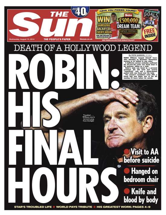 Screen shot 2014 08 13 at 08.16.05 Robin Williams: Mail, Express, Metro, Mirror And Sun Turn Killer Depression Into A Sensational Suicide