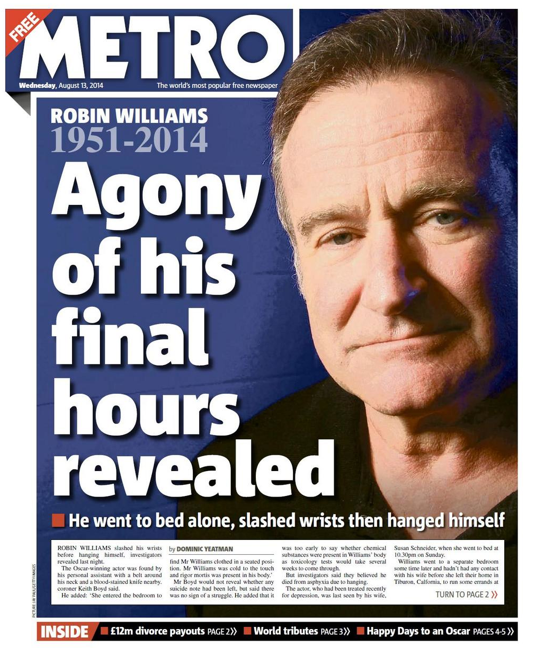 Screen shot 2014 08 13 at 08.16.15 Robin Williams: Mail, Express, Metro, Mirror And Sun Turn Killer Depression Into A Sensational Suicide