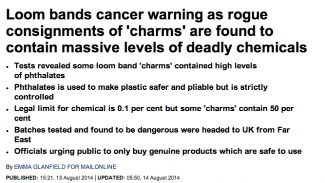 Screen shot 2014 08 20 at 13.03.05 Loom Mongers: The Daily Mail Says Loom Bands Give You Cancer, Kill Turtles And Maim Your Kids