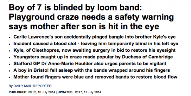 Screen shot 2014 08 20 at 13.11.34 Loom Mongers: The Daily Mail Says Loom Bands Give You Cancer, Kill Turtles And Maim Your Kids