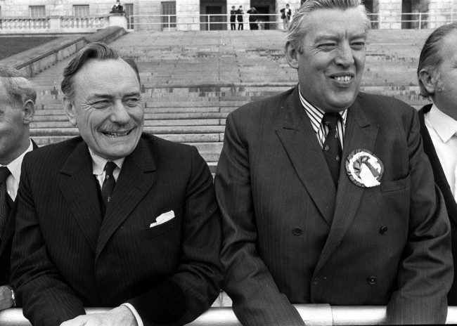 Library filer ref 168050-75 dated 25.9.74 of then Unionist candidate for Ulster's South Down, Enoch Powell (left) and Dr Ian Paisley, then Democratic Unionist candidate for North Antrim. The controversial former minister, who became notorious for his 'Rivers of Blood' immigration speech in 1968 while still a Tory MP, died peacefully in hospital today (Sunday) aged 85. He had been suffering from Parkinson's disease.