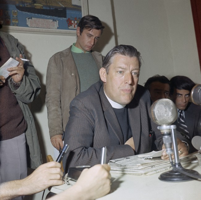 Northern Ireland's Protestant Unionist Party leader Reverend Ian Paisley takes a question a press conference in Belfast, Northern Ireland, Aug. 22, 1969. Earlier this month British troops were deployed following vicious sectarian riots on the streets of west Belfast. (AP Photo/Bob Dear)