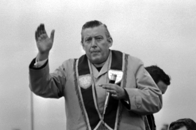 The Reverend Ian Paisley, prominent Northern Ireland politician and civil rights leader, in Belfast, Northern Ireland, in April 1972. (AP Photo)