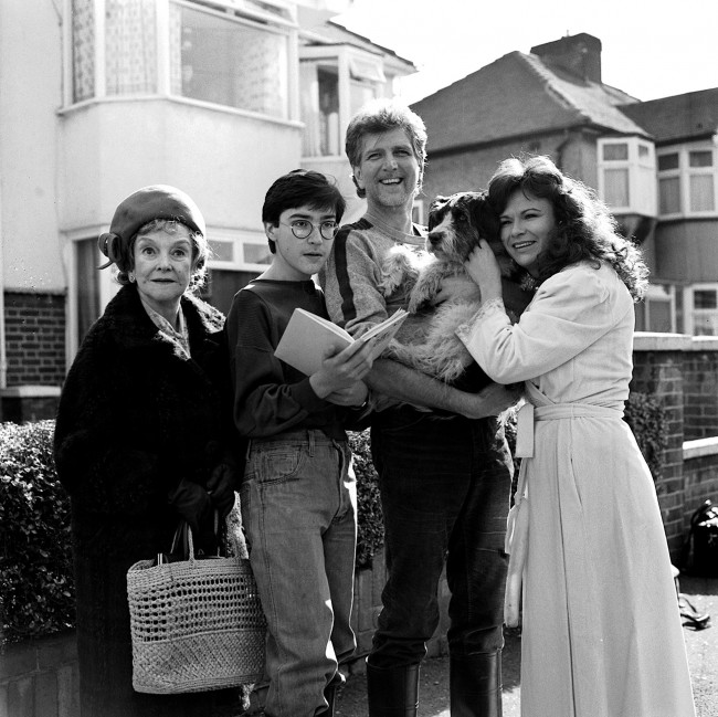 The cast if Thames TV dramatisation of Sue Townsends best seller, The secret Diary of Adrian Mole, aged 13 and 3 quarters on location in Harrow, London. * (L-R) Beryl Reid (Grandma), Gian Sammarco (Adrian), Stephen Moore and Julie Walters (Adrian's parents). Date: 18/03/1985