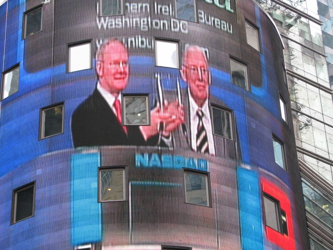 During a spectacular opening of the Nasdaq stock exchange in New York's Times Square which was projected onto a seven-storey high screen and broadcast live across the United States, Northern Ireland's First Minister Ian Paisley and Deputy First Minister Martin McGuinness were applauded by leading Irish Americans after they said that Northern Ireland is willing to do business with the United States. Photo date: Wednesday December 5, 2007. Joint leaders of the power sharing executive, First Minister Ian Paisley and Deputy First Minister Martin McGuinness have been on the first leg of a tour to New York and Washington aimed at encouraging American investment. The Nasdaq stock exchange opening was the final event of what has been a triumphant visit.