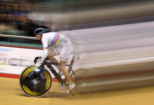Great Britain's Victoria Pendleton wearing her World Champions Jersey sets the fastest time in the Women's Sprint during the UCI Track World Cup at Manchester Velodrome, Manchester.  Picture date: Friday October 31, 20008.