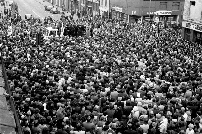 "Dr Ian Paisley addresses a mass gathering of supporters, in the Protestant Shankhill Road area of Belfast. The Ulster Workers' Council declared that ""everything"" in the strike-bound Province ""stops at midnight"" in an attempt to bring down the Ulster power sharing executive brought about by the Sunningdale Agreement. Ref #: PA.6575763  Date: 27/05/1974"