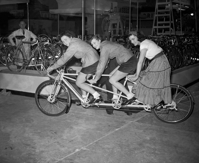 A Claud Butler 'Triplet' bicycle. Date: 13/11/1953