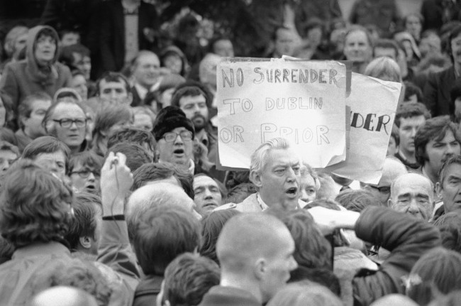 ev. Ian Paisley, addressing a rally of Loyalists outside City Hall in Belfast, Ireland, Nov. 23, 1981. This was part of the Protestant Day of action, in which most of Northern Ireland's industry came a standstill. (AP Photo/Peter Kemp)