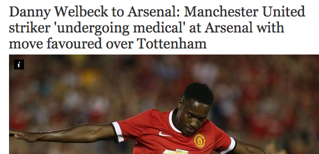 Screen shot 2014 09 01 at 20.44.10 Transfer Balls: Manchester United Sell Danny Welbeck To Arsenal But He Wanted Spurs