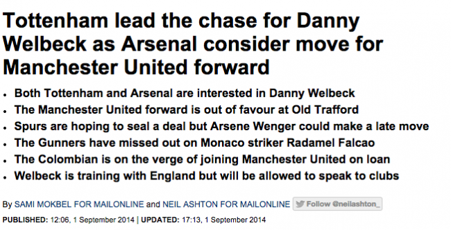Screen shot 2014 09 01 at 20.57.27 Transfer Balls: Manchester United Sell Danny Welbeck To Arsenal But He Wanted Spurs