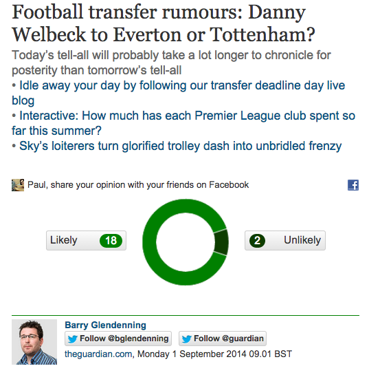 Screen shot 2014 09 01 at 20.59.44 Transfer Balls: Manchester United Sell Danny Welbeck To Arsenal But He Wanted Spurs