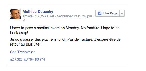Screen shot 2014 09 15 at 09.29.29 Arsenal Balls: Mathieu Debuchy Injury Leaves Arsenal With Just 11 Defenders