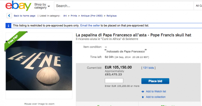 Screen shot 2014 09 18 at 15.55.45 You Can Buy Pope Francis Skull Cap