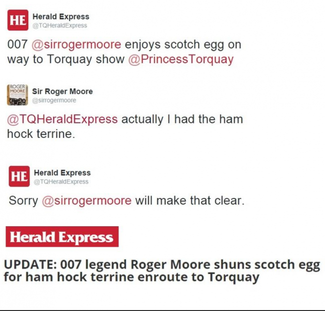 Screen shot 2014 09 28 at 19.31.15 Local News Watch: The Torquay Herald Express Clarifies Sir Roger Moores Scotch Egg Shun Scoop
