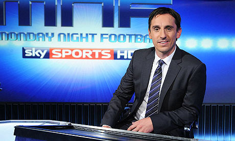 Gary Neville commentating for Sky