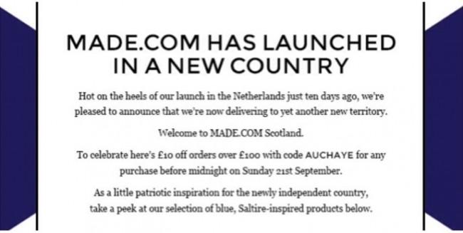 made.com fail Marketing Balls: Made.Com Celebrates An Independent Scotland With Free 10 Groats Offer