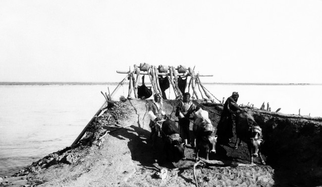 In Syria and other arid countries of the Middle East, immemorial oxen are used to raise water from the native rivers and lakes for use in irrigation on August 23, 1938 in Syria. Same crude paraphernalia as in biblical times. (AP Photo)