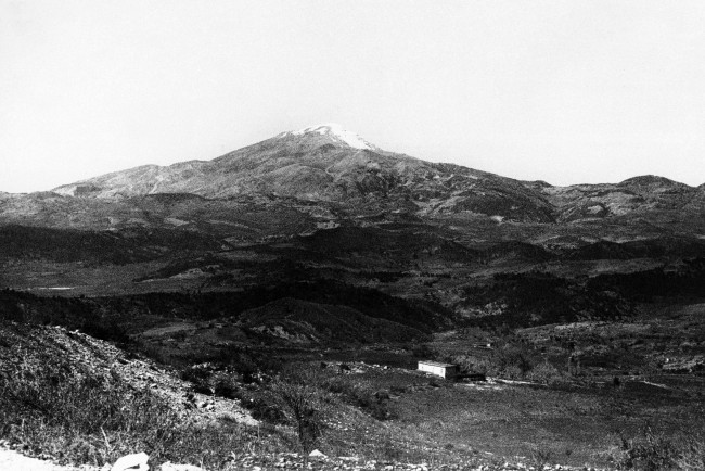 Mount Acora, a famous range in Northwest Syria, near the famous biblical town of Antioch on Dec. 2, 1938, where St. Paul preached the Gospel. Note that the curious snow formation on the pinnacle of the mountain forms the outline of a man's face, to which the untutored natives attribute mysterious powers. (AP Photo)