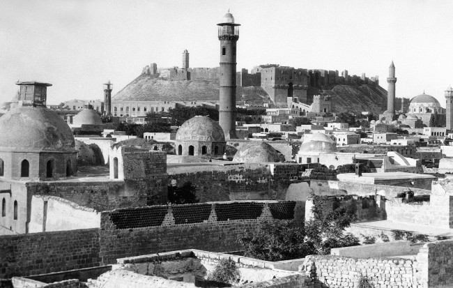 Famous Citadel, surrounding mosques and houses in Aleppo, Syria on August 23, 1938, one of the oldest cities in the world. (AP Photo)