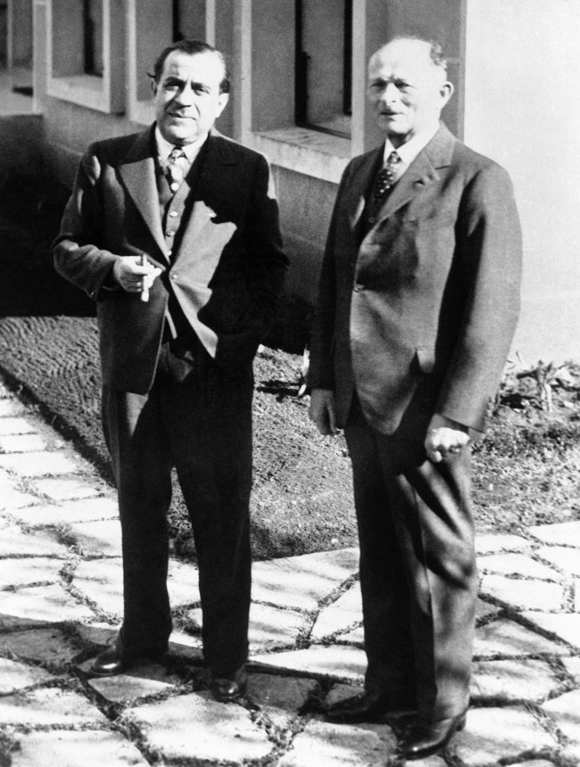 The Former French War Minister General Maxime Weygand, right, snapped with Emile Edde, the President of the Republic of Lebanon, on Feb. 15, 1939, during the general's present visit to Syria. (AP Photo)
