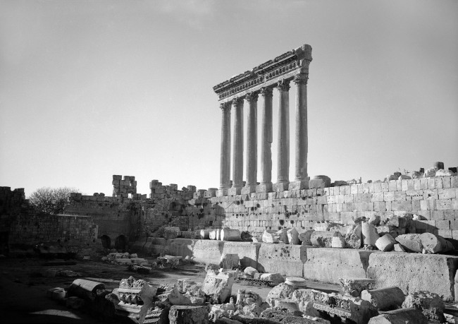 The six standing columns are the remains of the Temple of Jupiter, which in its day was considered one of the wonders of the world, near the town of Baalbek, in Syria, in Dec. 1938.. (AP Photo)