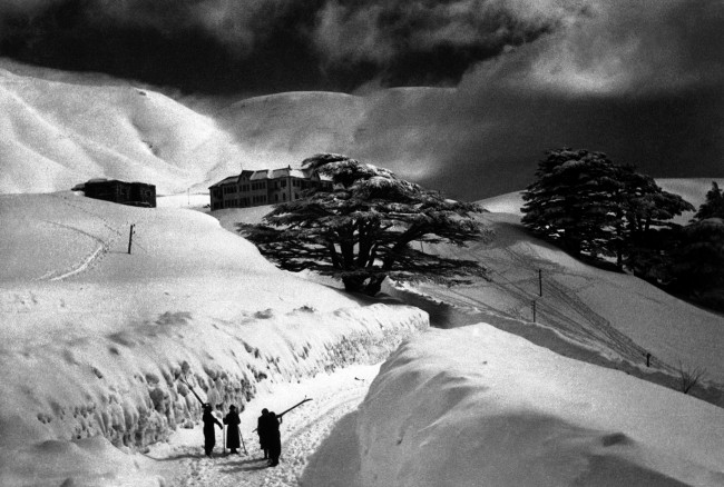 A scene in the Lebanon Mountains, north of Palestine, famous for their stately cedar trees. The picture shows a Christmas-card scene in the region north of Damascus, Syria, on Dec. 2, 1938. (AP Photo)