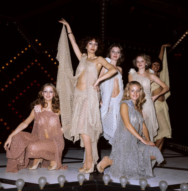 The new all-girl dance troupe for the Top of the Pops programme at the BBC Television Centre in London. They are, from left, back row, Patti Hammond, 26, Sue Mehenick, 21, Lulu Cartwright, 16, and Pauline Peters, 24. In front are Rosemary Hetherington, 16, and Gill Clark, 17. Date: 20/10/1976