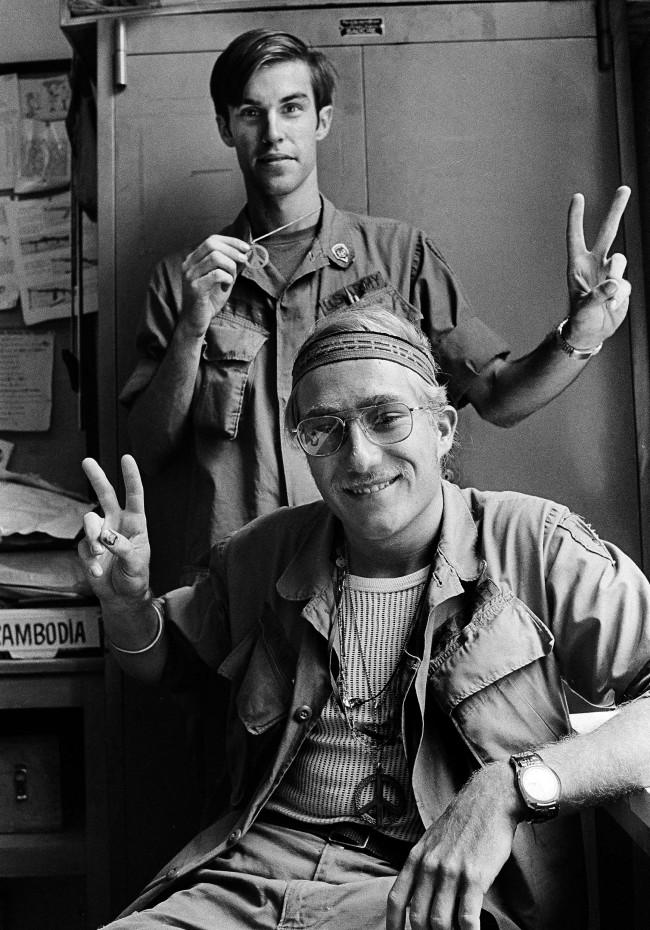 PA 14523289 2 Faces of 1971: GIs Ed Norris And Bob Dickey Smnoke Marijuana In Saigon