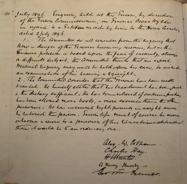 A page of text from a record of visits of the justices to Reading Prison opened to the page of July 10th 1896, where an inquiry was held about the health of prisoner, poet Oscar Wilde.